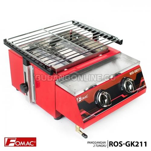 FOMAC Panggangan Sosis Steak Ayam Ikan Gas Roaster BBQ Kompor 2 Tungku Tanpa Asap ROS-GK211