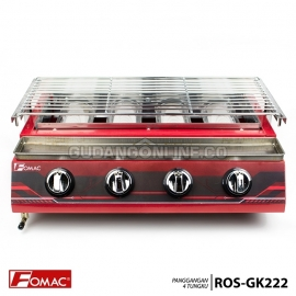 FOMAC Panggangan Sosis Steak Ayam Ikan Gas Roaster BBQ Kompor 4 Tungku Tanpa Asap ROS-GK222